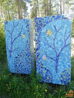 Mosaic art at Pentik-mäki Stone Mosaic Tile, Mosaic Glass, Mosaic Tiles, Fused Glass, Stained Glass, Glass Art, Tile Art, Mosaic Art, Mosaic Furniture