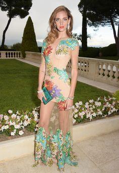Chiarra Ferragni in a sheer floral printed dress