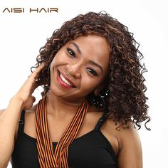 AISI HAIR Synthetic Wigs for Black Women Long Afro African Kinky Curly  Mixed Drown Hair