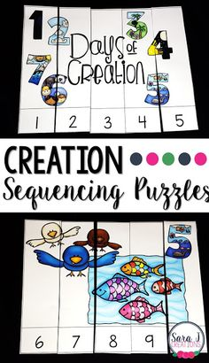 Creation Sequencing Puzzles I have another freebie for you that would be perfect for Bible School or Sunday School. I used it last week with preschoolers during Vacation Bible School. Sequencing puzzles help students to practice assembling puzzles and sequencing numbers. Each picture represents a day of the creations story. Click the picture or click HERE to grab your free puzzles. 7 Days of Creation Bible Story creation Numbers PreK-2 puzzles Sara J Sara J Creations sequencing numbers…