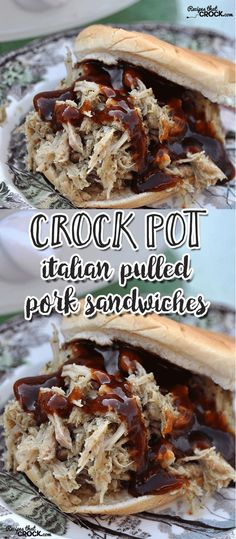 If you love Italian seasoning, then this Crock Pot Italian Pulled Pork Sandwiches recipe is the recipe for you! It is literally the easiest recipe to put on in the morning!