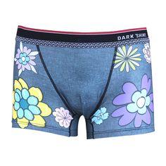 Men's Boxer Briefs-Flower Demin Style, front メンズファッション アンダーウェア ボクサーパンツ #darkshiny #mensfashion #boxerbrief #underwear