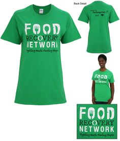 Our soft cotton shirt creates word of mouth awareness for a fast-growing organization working to bring food to hungry mouths! The Food Recovery Network spurs change among college cafeterias, by collecting uneaten food that would otherwise be waste i