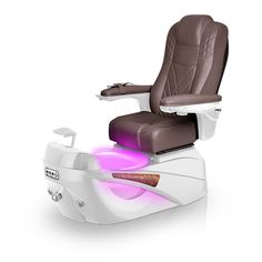 Luminous pedi-spa shown in Walnut Ultraleather cushion, White Pearl base, Aurora LED Color-Changing bowl (shown in purple)