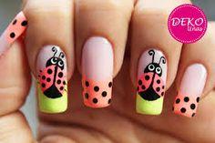 Deko Uñas by Diana Diaz Ladybug Nail Art, Bee Nails, Zebra Print Nails, Manicure, Bunny Nails, Cute Spring Nails, Colorful Nail Art, Gel Nail Art Designs, Sassy Nails
