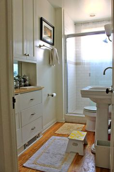 Love the built in with mirror for a bathroom- makes it feel roomier and maybe we could transition our existing doored closet into this type of set up?