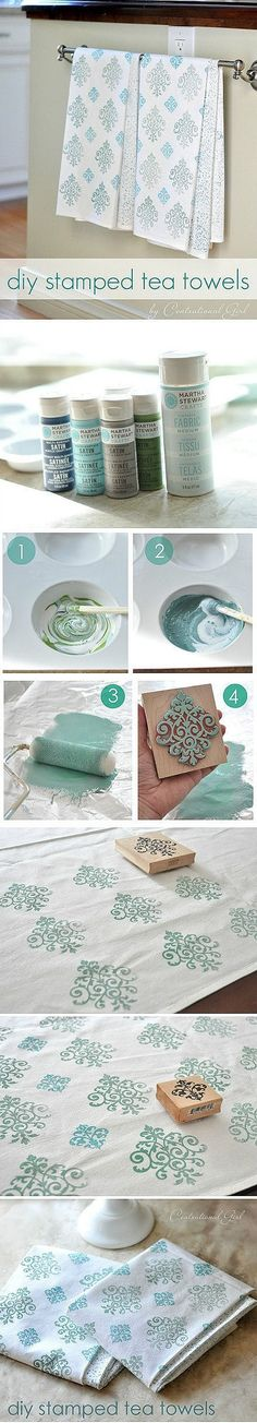 DIY Stamped Tea Towels - I should try this, I have a ton of stamps! Now all I need is the Martha stewert craft paint!