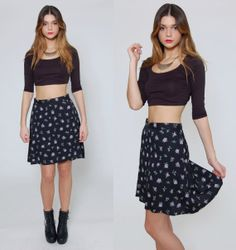 Vintage 90s FLORAL Mini Skirt Black with Lavender Flowers by LotusvintageNY on Etsy
