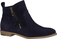 Tamaris - Cigarra Bootie - Navy Suede Boots on BuyFantasticShoes.com. We have the best selection of Tamaris shoes on the web.