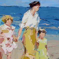 """Un paseo en la playa"" después de que Edward Henry Potthast - a Sally Cummings Shisler"