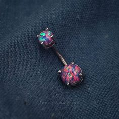 belly ring belly button ring belly jewelry purple fire opal