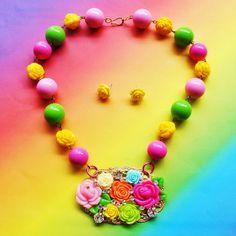 Swarovski Crystal Spring Bright Floral Bib by glamourpusscouture, $39.99