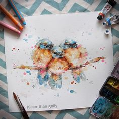 Nature-Inspired Watercolor Paintings By Sillier Than Sally | baby blue birds