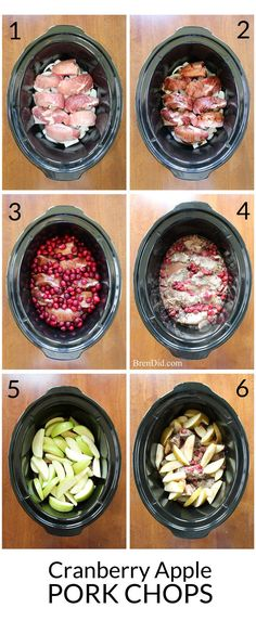 Slow Cooker Crockpot pork chops or pork ribs simmer with cranberries, onion and apples to create a delicious dish flavored with balsamic vinegar. Try this easy and delicious slow cooker crock pot recipe soon!!