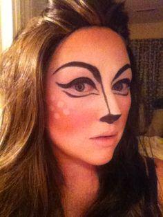Deer inspired Halloween makeup. Easy costume idea. Animal Makeup. Designed by Makeup Madame Artistry www.makeupmadameartistry.com