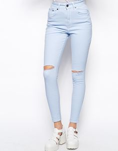 Ragged Priest High Waisted Skinny Jeans With Ripped Knee's