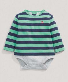 Boys Green Striped Bodysuit - New Arrivals - Mamas & Papas