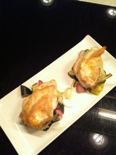 Spring chicken on roasted Summer squash and radish salad.