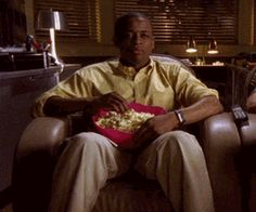 "An animated gif of Burton ""Gus"" Guster eating popcorn on the show Psych. Gus is played by actor Dulé Hill. This is a perfect ""this gonna . Best Tv Shows, Movies And Tv Shows, Wattpad, Shawn And Gus, It's Over Now, I Know You Know, Roman, I Laughed, The Best"