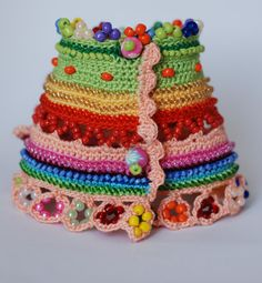 Handmade crochet bracelet. Freeform Crochet Cuff - Flowers - Green Red Pink Blue Yellow- Beaded Cuff