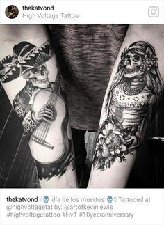 Mexican skulls couple <3 #highvoltagetattoo