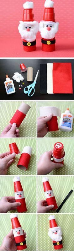 Rolo de Papel e Plástico Cup Santas |  Clique por 25 Artesanato de Natal DIY para crianças para fazer |  DIY Decorações de Natal para as crianças a fazer