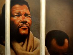 """original """"Captive"""" from Nelson Mandela, words and paintings by Kadir Nelson. 