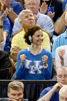 Actress and longtime Kentucky fan Ashley Judd reacts during the second half of her team's 69-61 semifinal vicory over Louisville in the Final Four Saturday in New Orleans.