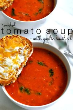 Serve it up with some cheesy garlic crostini's to dip and you have a super tasty meal on your hands! Is there anything better than tomato soup and grilled cheese? Comfort food at it's best and this 'grown up' version is just as good! #recipe #tomatosoup