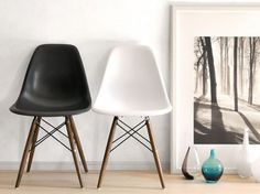 DINING AREA   Eames Inspired Eiffel DSW Chair - Black (Walnut Legs)  http://www.furnisho.co.uk/dining-chairs/eames-inspired-dsw-chairs/eames-dsw-plastic-chair-black-1061.html