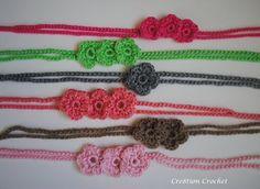 Cute Crochet Flower Headband and whatever else you can do with this cute and FREE pattern.