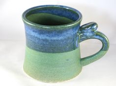 Large stoneware pottery mug with thumb rest, green and blue glaze (12oz) by CenteredVessel on Etsy