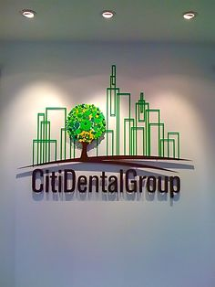 Beautifull and unique design - corporate office reception area sign for City Dental Group New York USA Best Interior Design Websites, Commercial Interior Design, Office Reception Area, Reception Areas, 3d Signs, Wall Signs, Dental Clinic Logo, Interior Window Trim, Wayfinding Signs