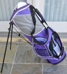 Womens Deluxe Purple Colored Professional Golf Bag Dual Shoulder Harness Automatic Stand Beautiful by Precise.for when all those lessons with Stacy start to payoff Ladies Golf Bags, Gym Bag, Purple, Shoulder, Lady, Beautiful, Viola