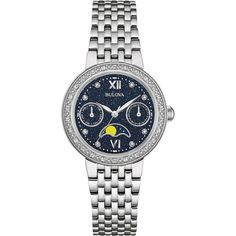 Bulova - Diamonds Quartz Wristwatch - Silver tone, Women's, 96R210