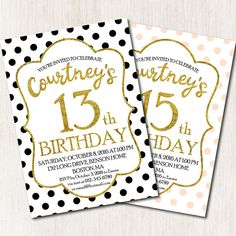 12th Birthday, Gold Birthday, Birthday Parties, Teen Birthday Invitations, Youre Invited, Invitation Cards, Confetti, Rsvp, Messages