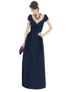 Alfred Sung Bridesmaid Dress D501  Fabric: Dupioni  V-neck, cap sleeve, full length dress in dupioni has pleating at bodice and rouched inset midriff at natural waist. Pockets at side seams of skirt.    Sizes available 00-30W, and 00-30W extra length. Also available cocktail length as style D500.  Dress Colors: viewing - midnight