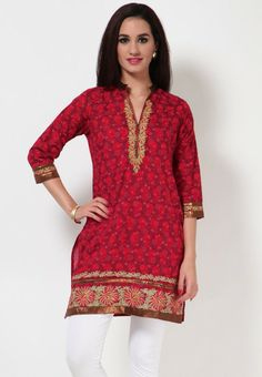 3/4Th Sleeve Printed Red Kurti
