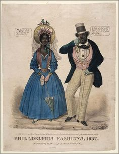 Colored print; full length caricature portrait of a black man and woman walking on street. She wears elaborate large hat with ribbons, bows, flowers, and long veil; dress with tight-fitting bodice, ruffles on sleeves, and long full skirt; gloves; carrying lace handkerchief and parasol. Her jewelry includes bracelets on both arms, broach at bodice, medallion hanging from neck to waist, long earrings and band(?) on forehead. He wears high hat, shirt with lace front and cuffs, black tie, fancy ...