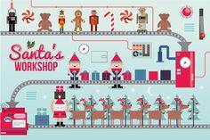 #santa's workshop illustration/vector by lyeyee on Creative Market #Graphics #Illustrations