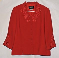 Gorgeous Red Embroidered Blazer Size 12