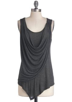 Draped in Delight Top - Long, Knit, Grey, Solid, Minimal, Tank top (2 thick straps), Good, Scoop, Ruching, Grey, Sleeveless