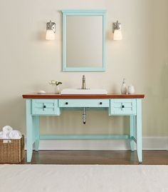 We could convert that antique desk into a bathroom vanity with tile and restaining new home - Simply design a bathroom vanity with five steps ...