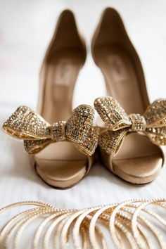 Stunning gold Valentino peep toe shoes {Photo by Nyk + Cali Wedding Photographers via Project Wedding}