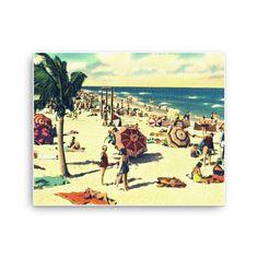 Vintage Beach Scene Canvas Art, Art Deco Art, Beach Bedroom Decor, Coastal Art for Living Room