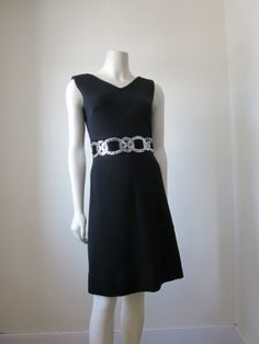 "1960s Black Knit with Silver Sequin Embroidery at Waistline by ""Bleeker Street,"""