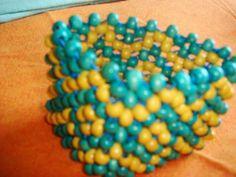 Vibrant Yellow & Turquoise Wooden Beaded Bracelet