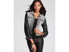 J Brand NEW $495 French Lamb Leather Trim Ashen Denim Jean Jacket L403 Sz Large