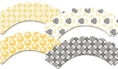 Yellow and Gray Cupcake Wrappers Set 3 by outsidetheboxdessert, $10.00