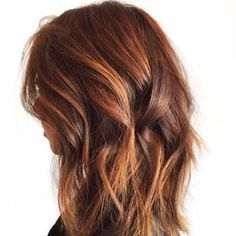 Beautiful copper and gold Balayage highlights and long bob with undercut. - Yelp